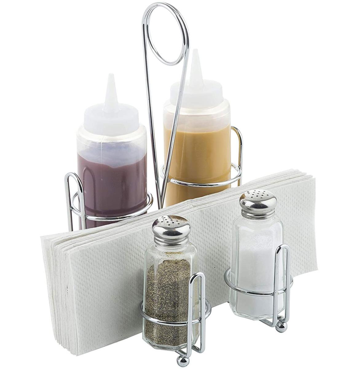 Retro Diner Tafel Top Set - Zout Peper Ketchup Mosterd