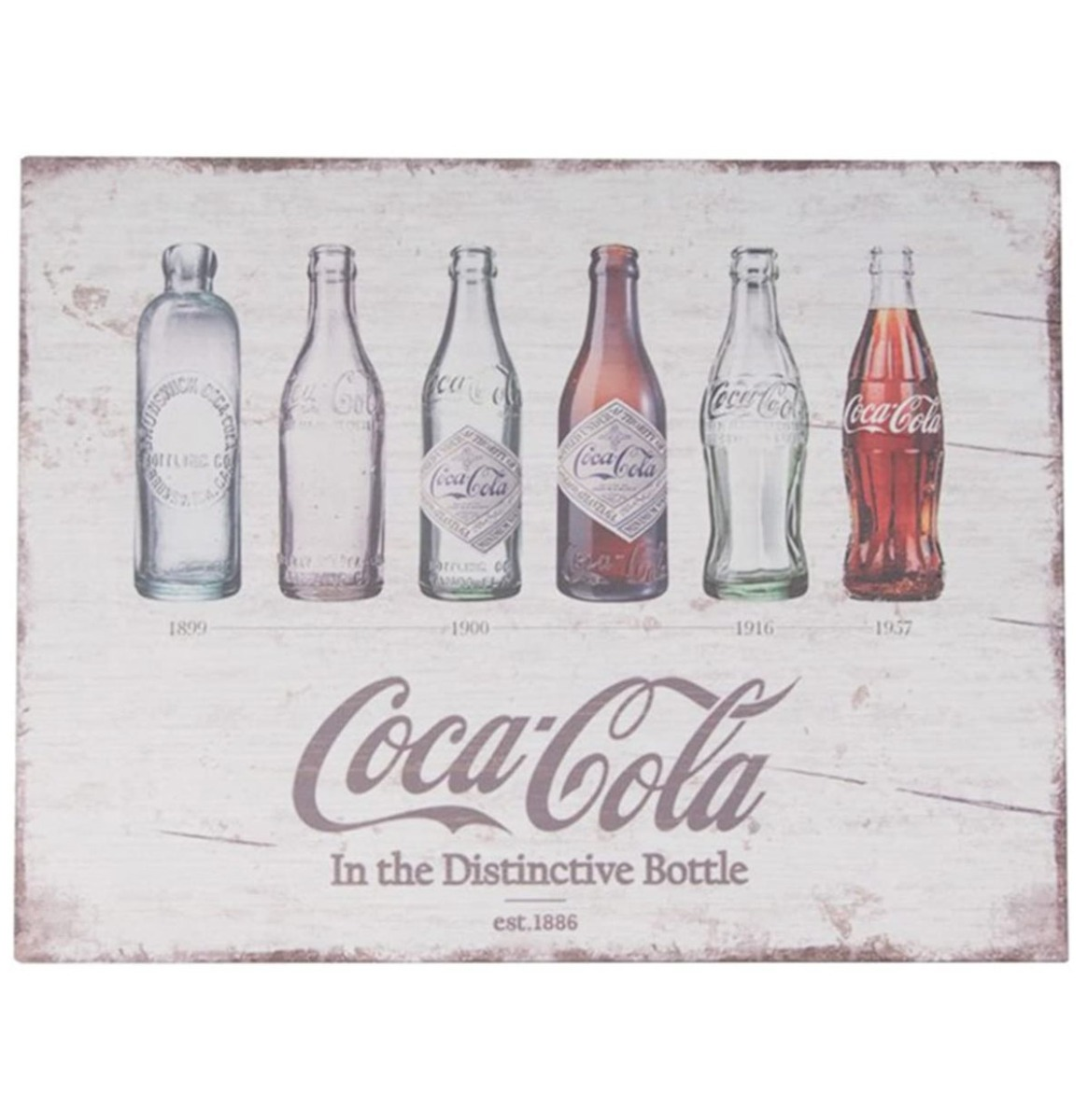 Coca-Cola Flessen Evolutie Houten Bord