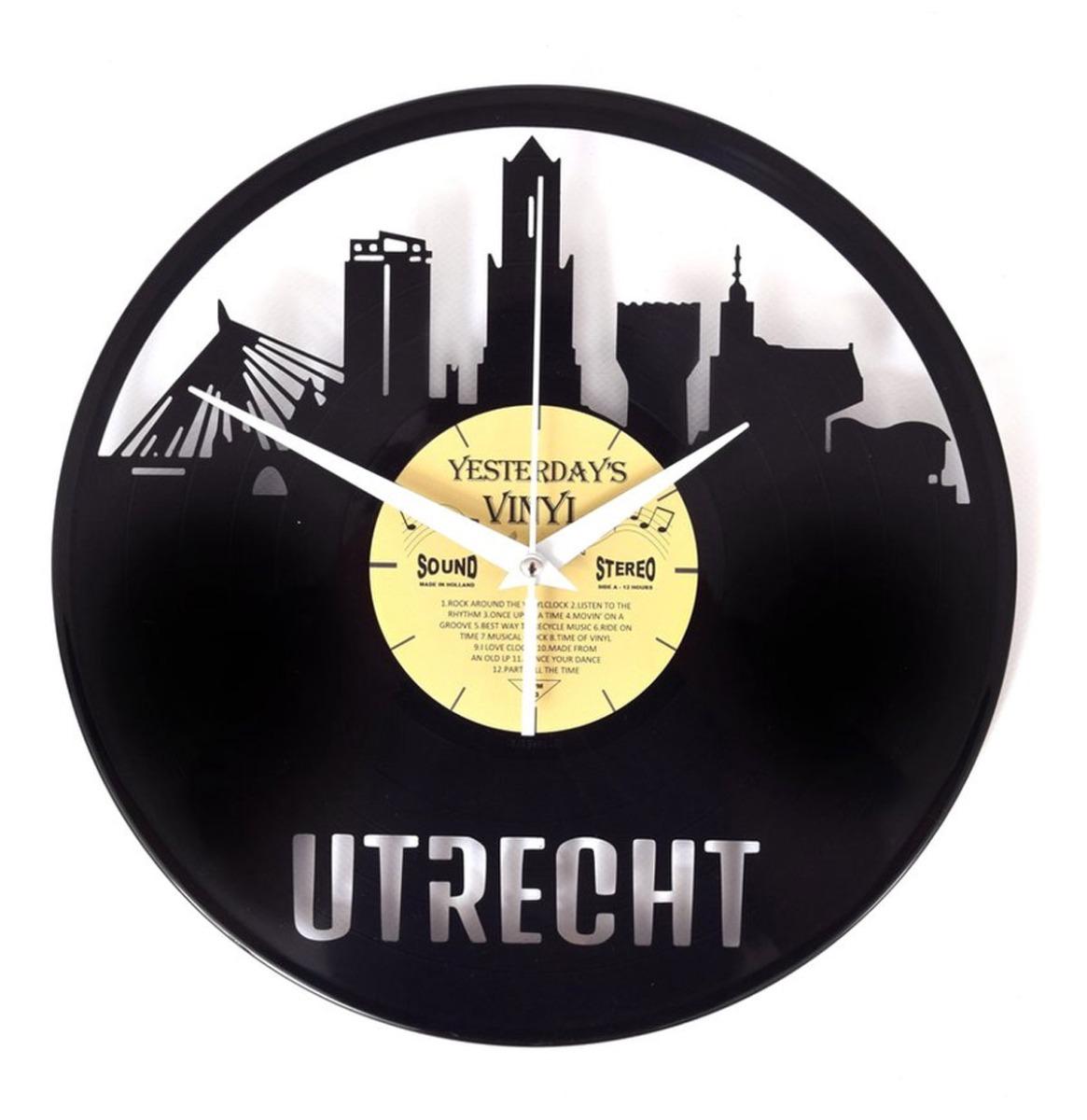 Vinyl Klok Skyline Utrecht - Gemaakt Van Een Gerecyclede Plaat