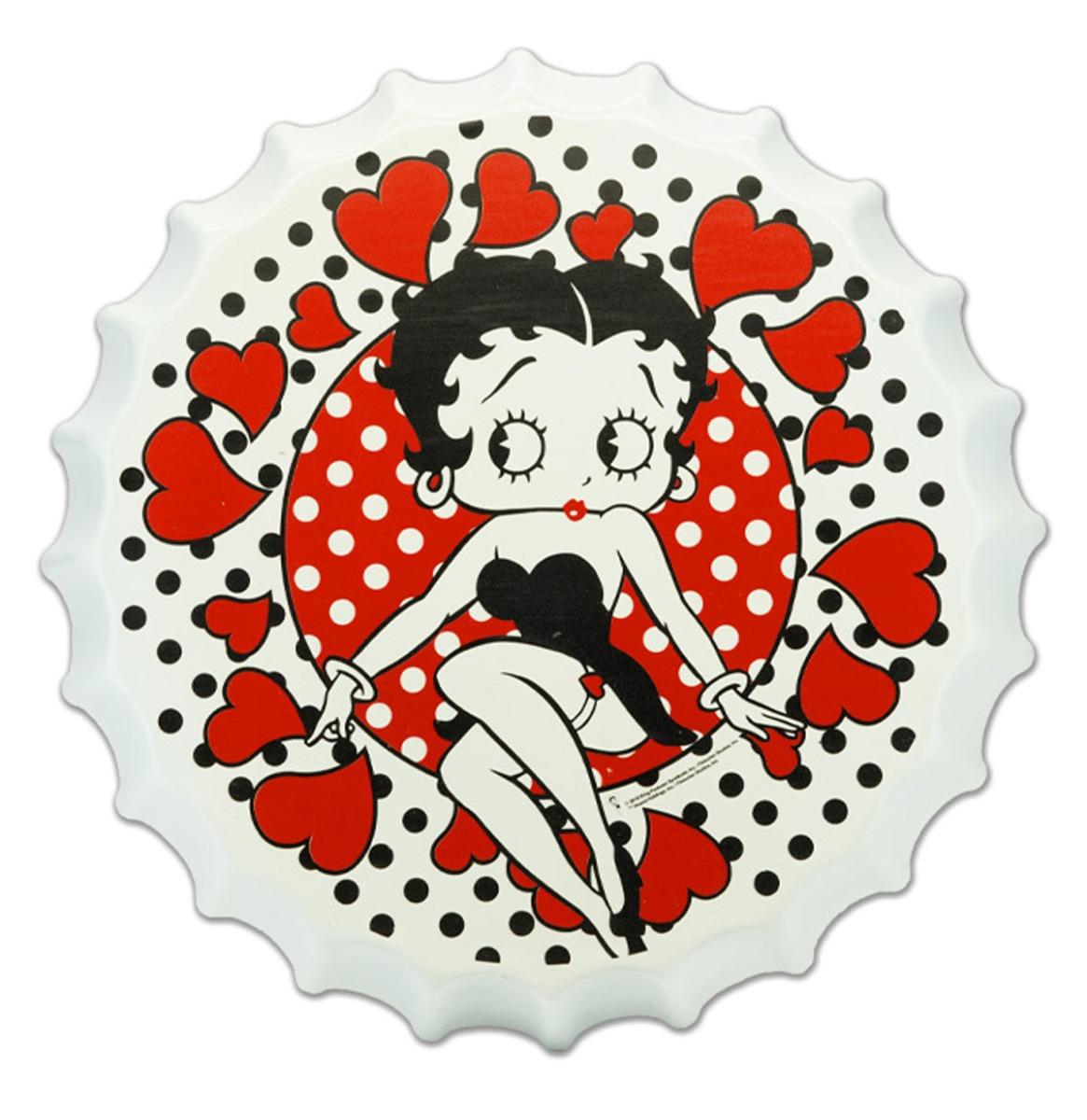 Betty Boop Met Hartjes Flessendop Bord - 35 cm ø