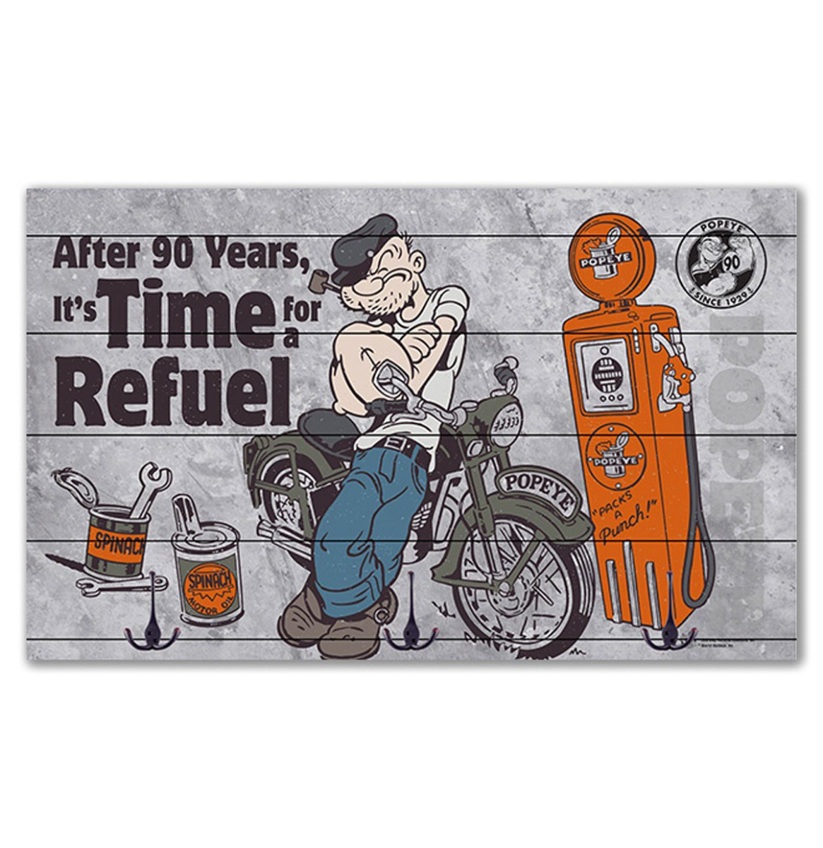 Popeye - After 90 Years It's Time For A Refuel Houten Kapstok - 50 x 30 cm