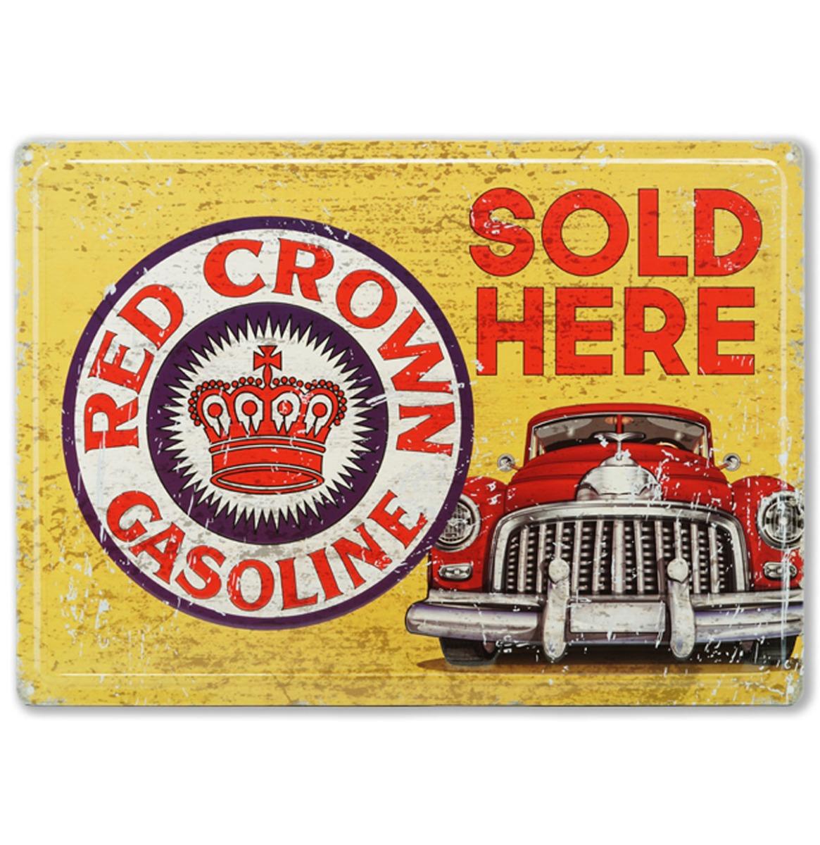 Red Crown Gasoline Sold Here - Metalen Bord Met Reliëf - 43 x 31 cm