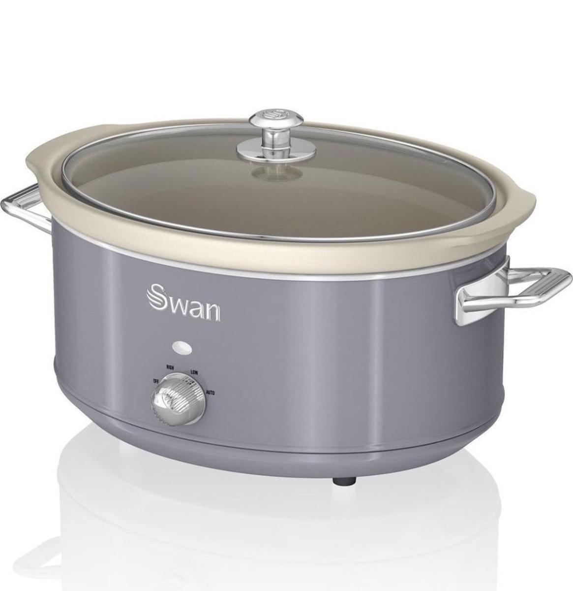 Swan Retro Slow Cooker - 6.5 Liter - Grijs