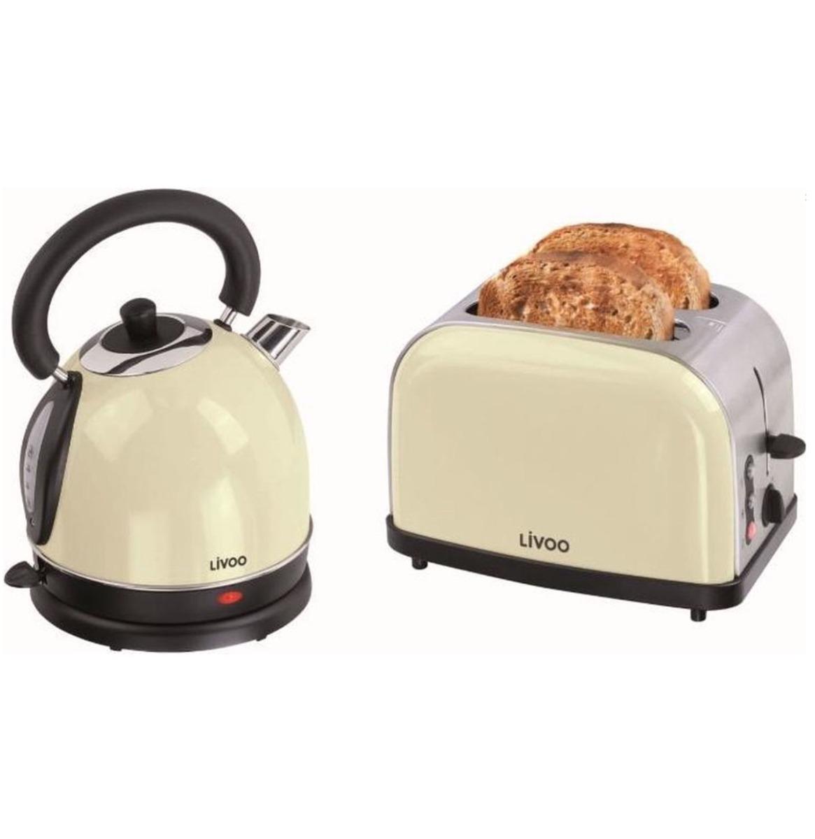 Livoo Ontbijt Set - Waterkoker & Broodrooster - Beige