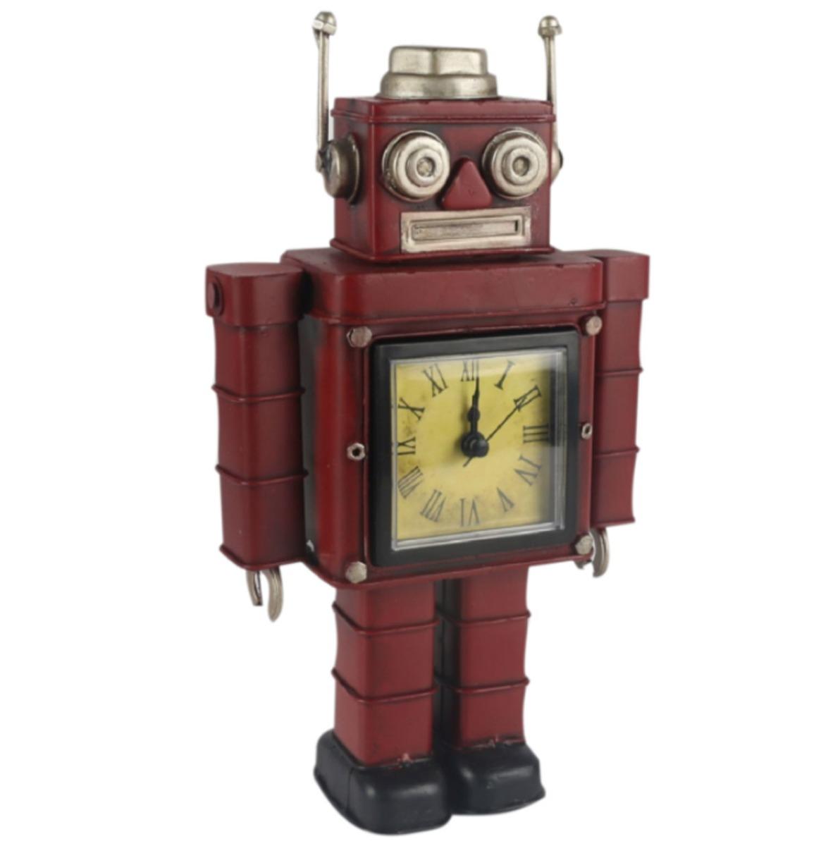 fiftiesstore Metalen Robot Klok - Rood