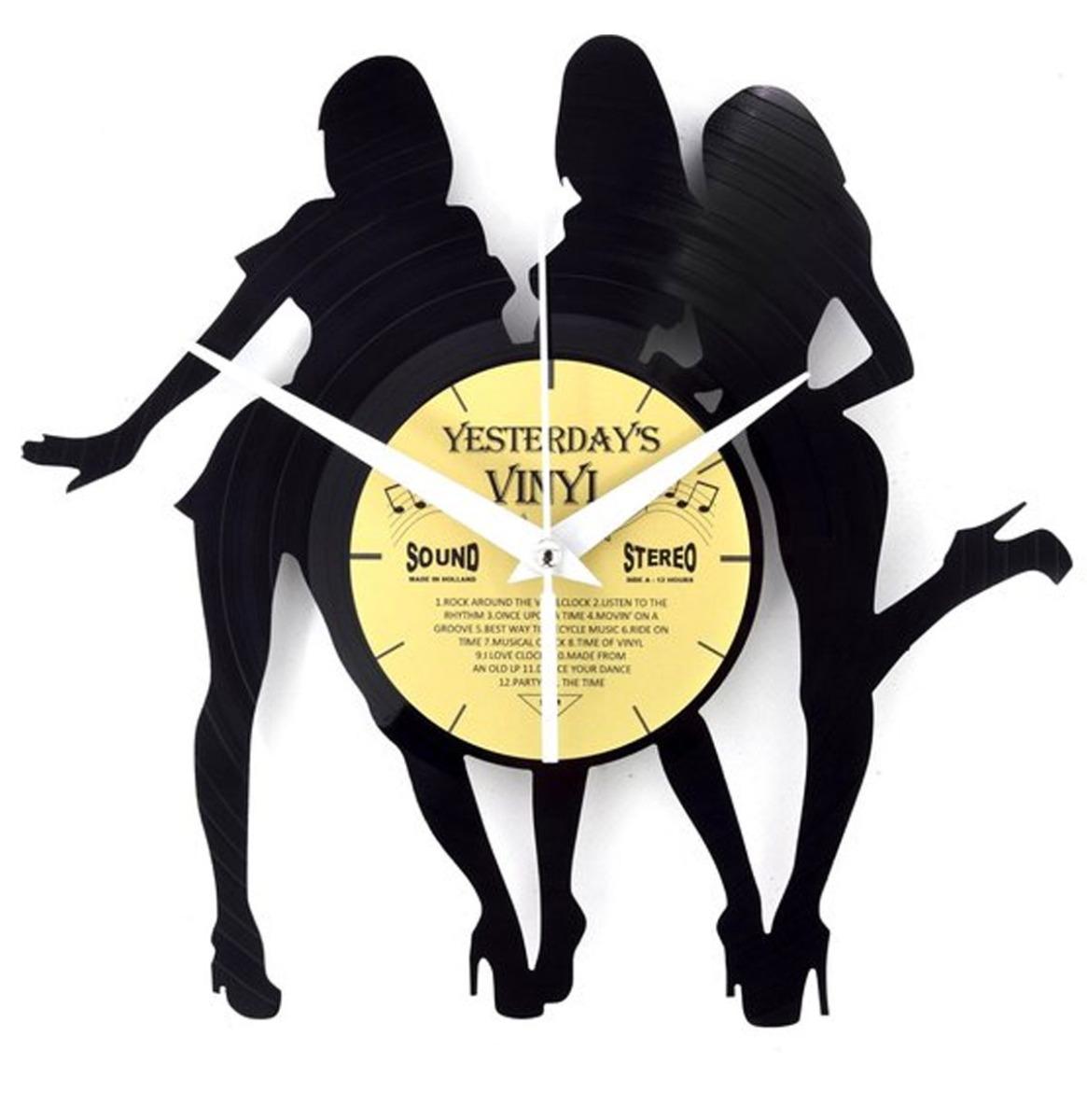 Vinyl Klok 3 Vrouwen - Gemaakt Van Een Gerecyclede Plaat