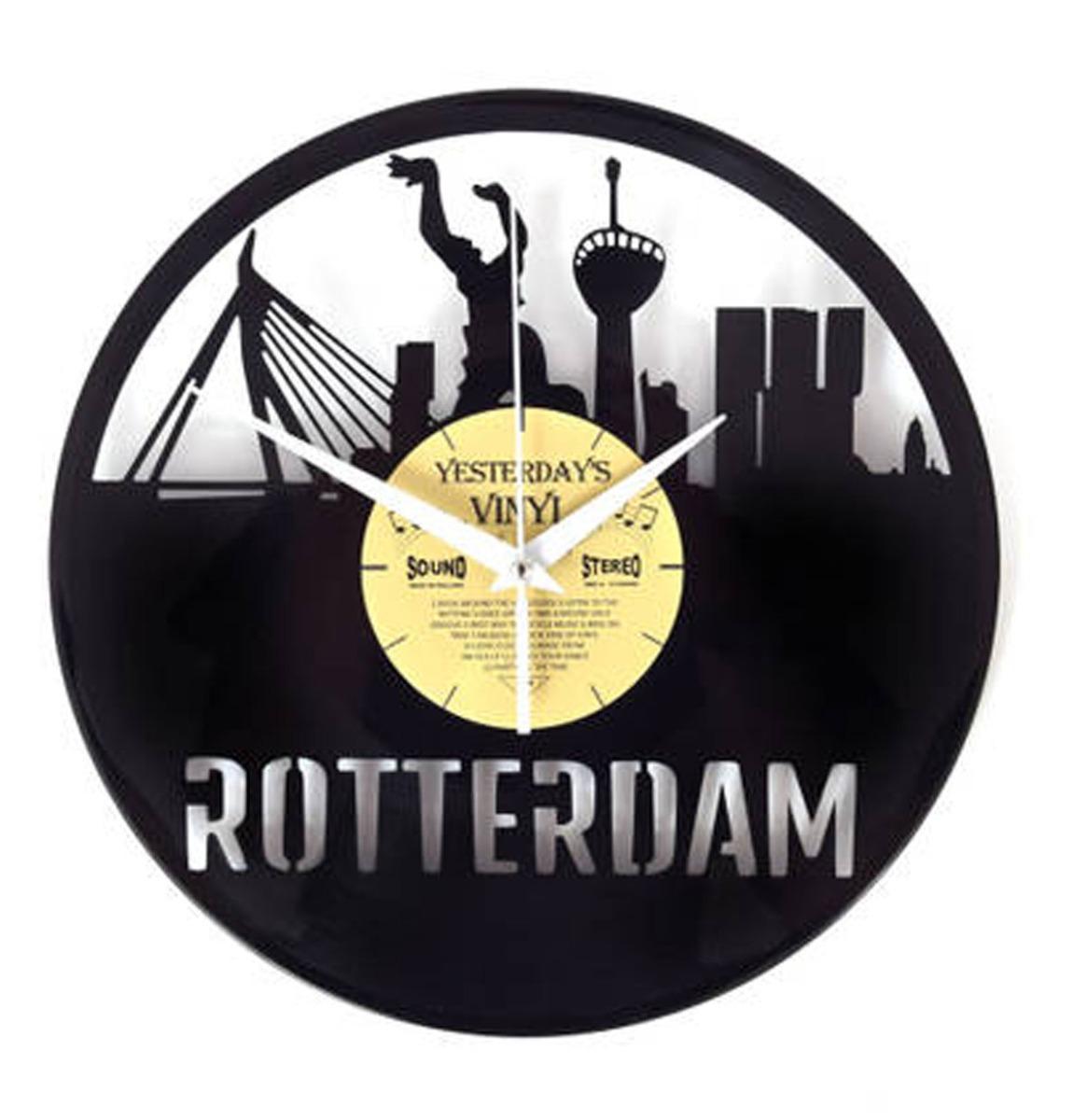 Vinyl Klok Skyline Rotterdam - Gemaakt Van Een Gerecyclede Plaat
