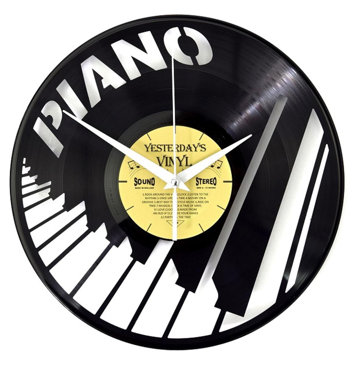 Vinyl Klok Piano Toetsen - Gemaakt Van Een Gerecyclede Plaat