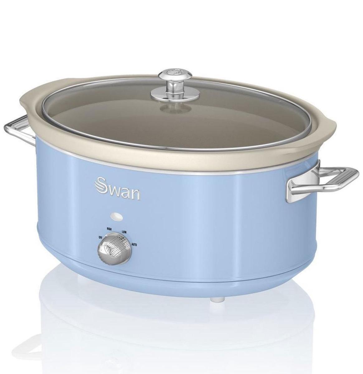 Swan Retro Slow Cooker - 6.5 Liter - Blauw
