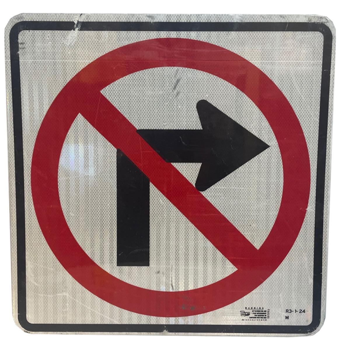 No Right Turn Straatbord - Origineel