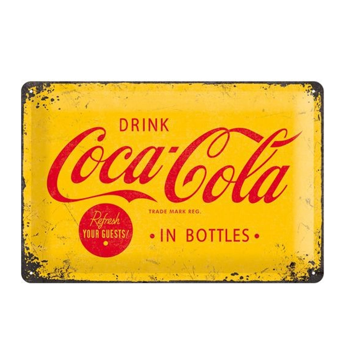 Metal Sign 'Drink Coca-Cola' Yellow 20 x 30 cm