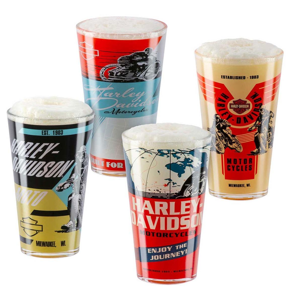 Harley Davidson Vintage Poster Pint Glas Set