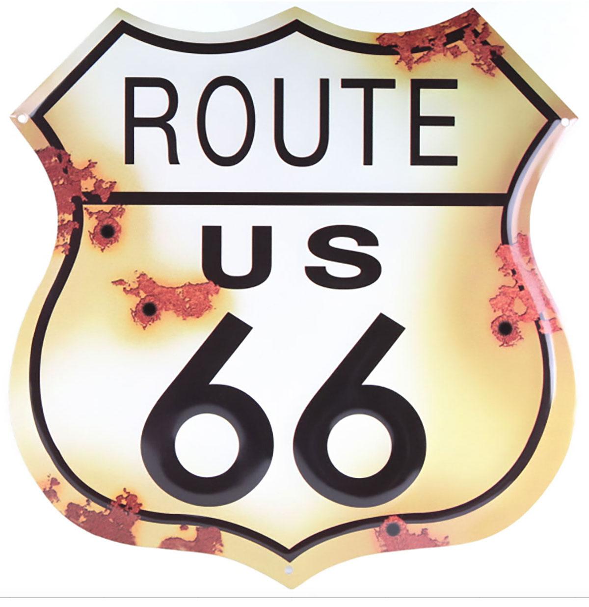 Route 66 Rustic Metalen Bord