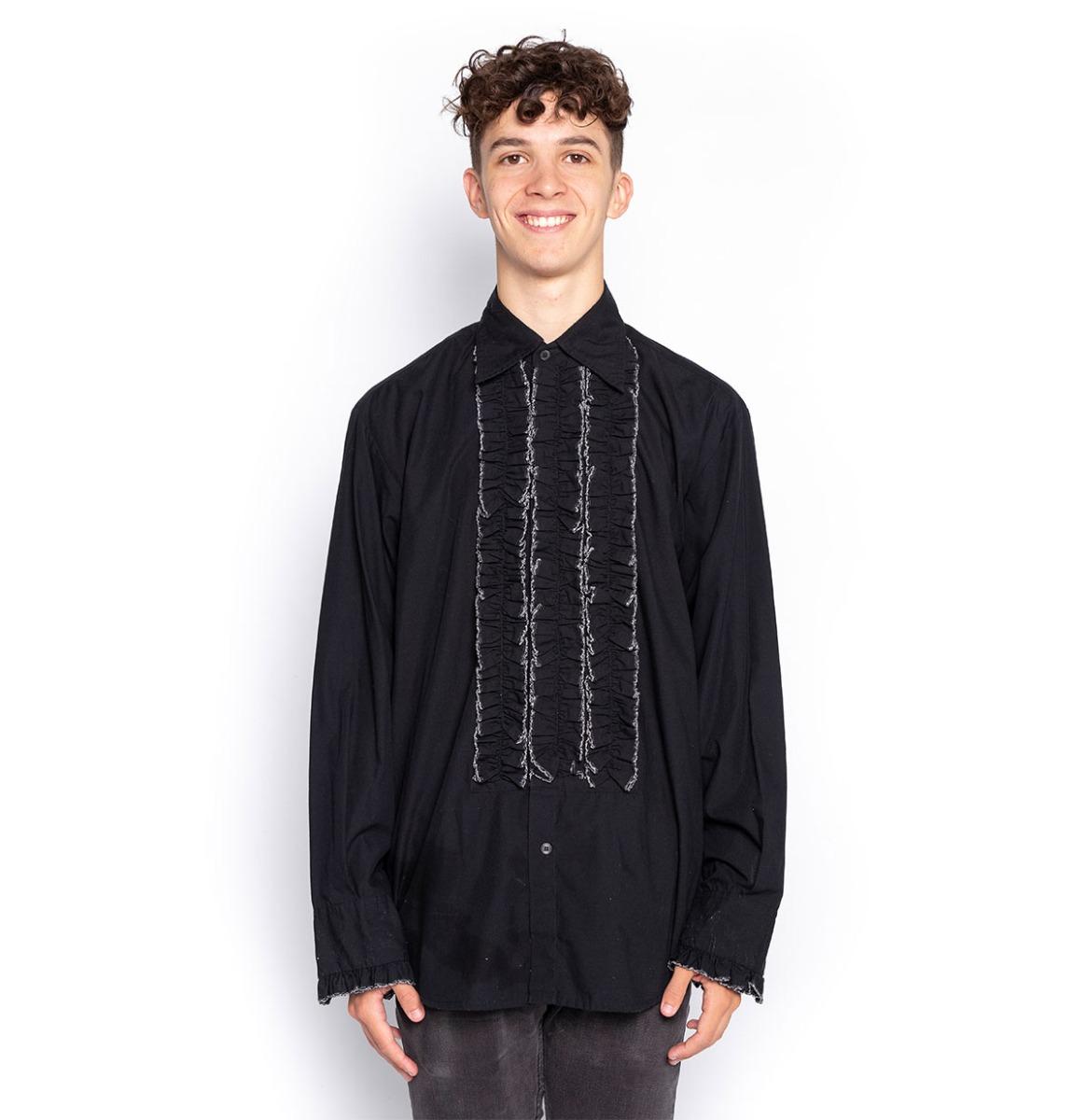 Ruffles Shirt Black with White Ruffles - S - Used