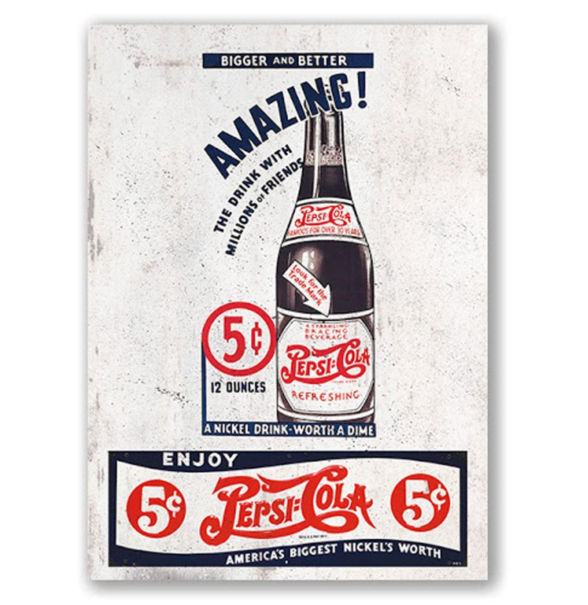 Pepsi-Cola Bigger And Better Metalen Bord Met Reliëf - 43 x 31 cm