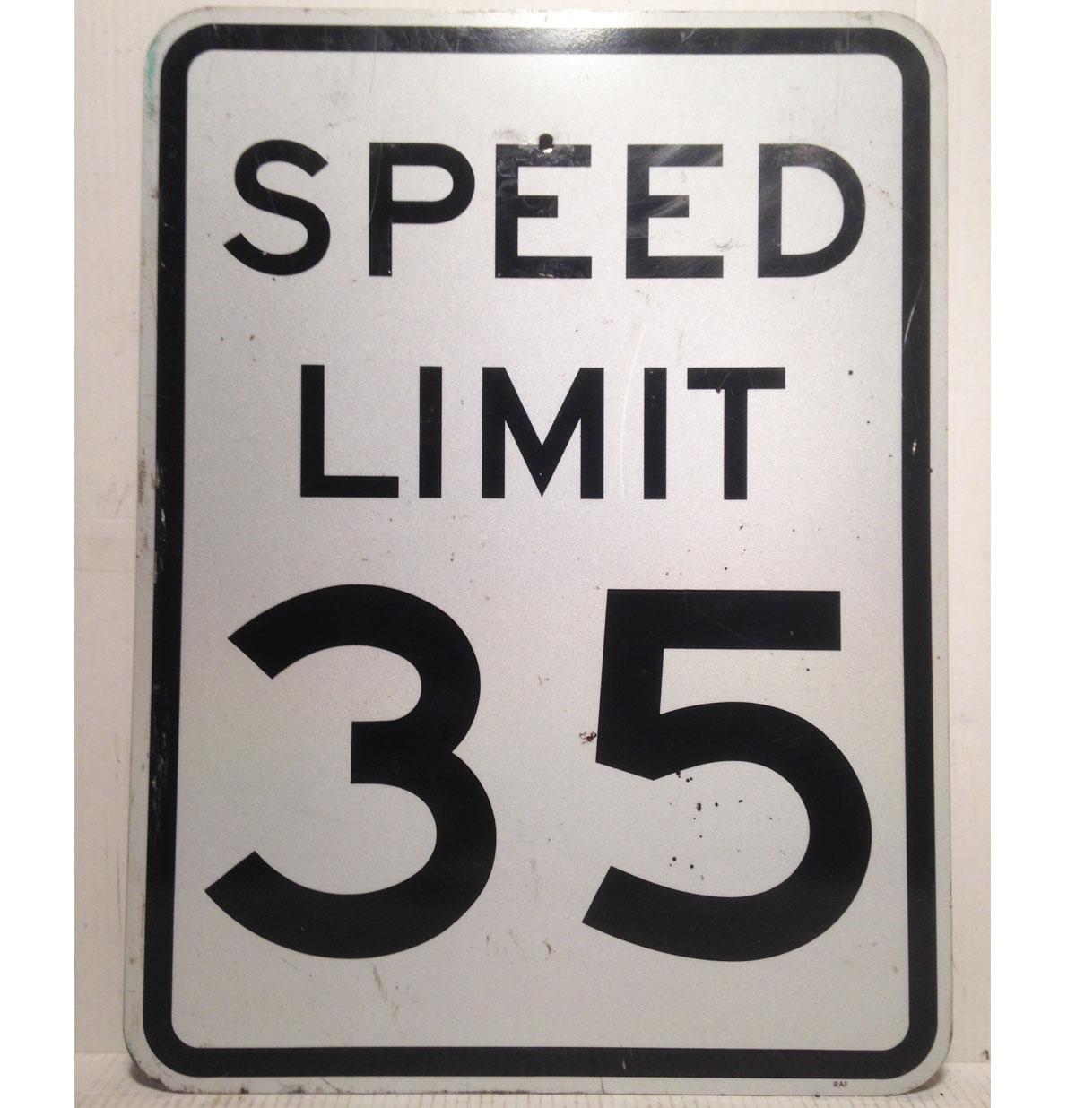 Speed Limit 35 Straat Bord - Origineel 61 x 76 cm