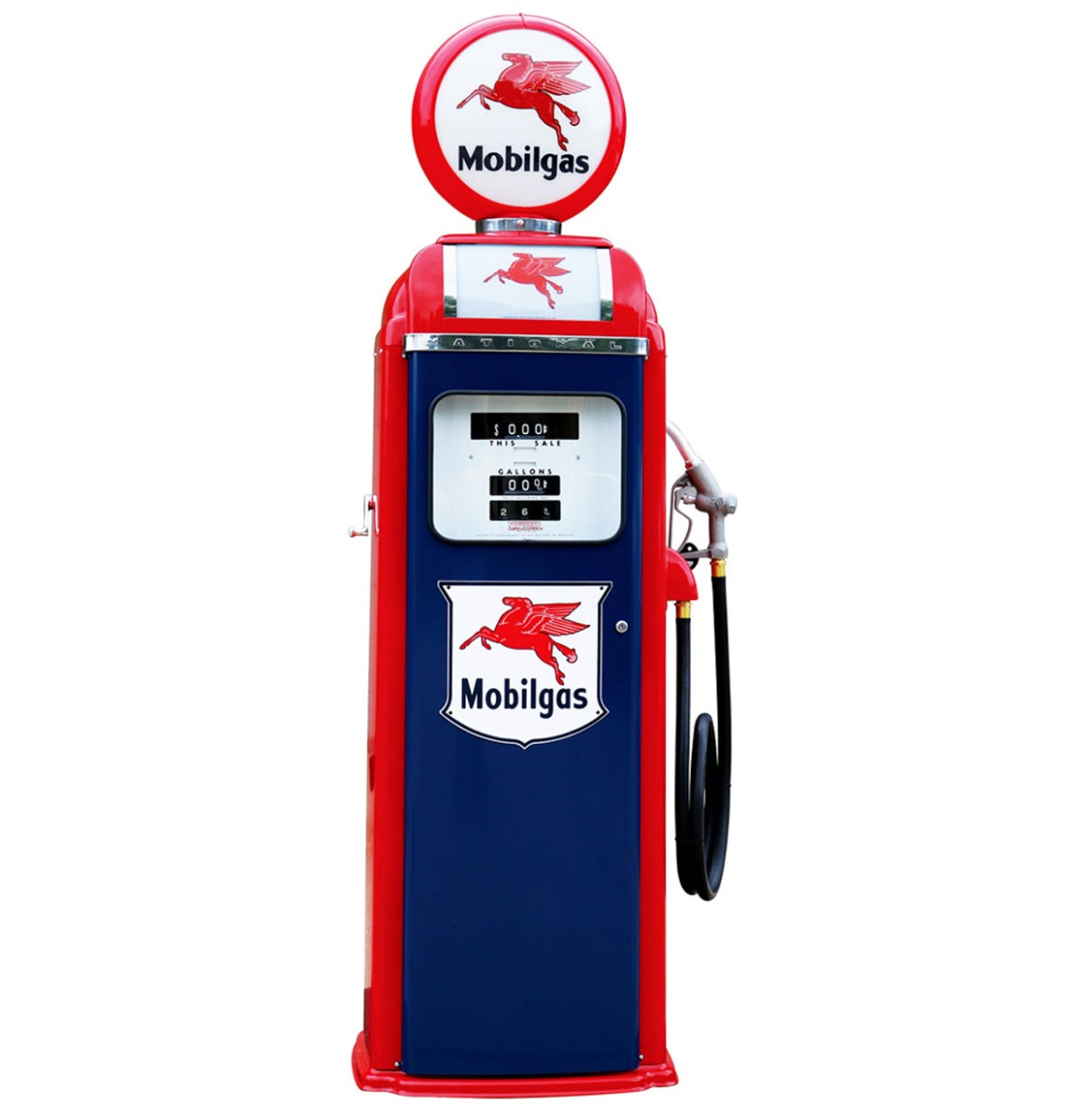 Mobilgas National 360 Computer Face Benzinepomp - Rood & Blauw - Reproductie