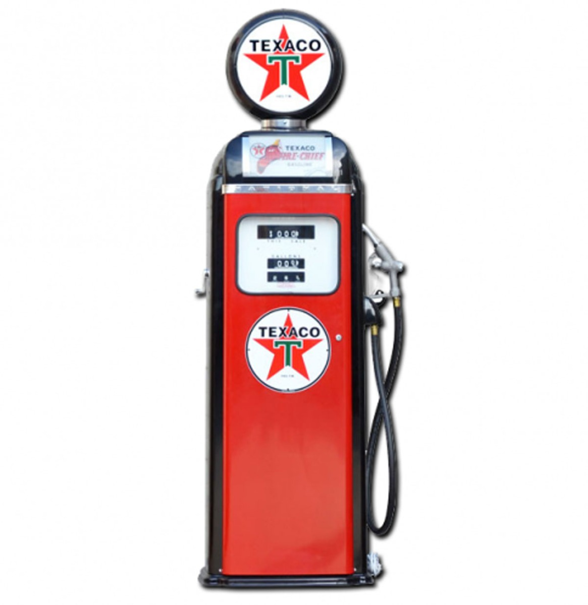 Texaco Fire-Chief National 360 Computer Face Benzinepomp - Rood & Zwart - Reproductie