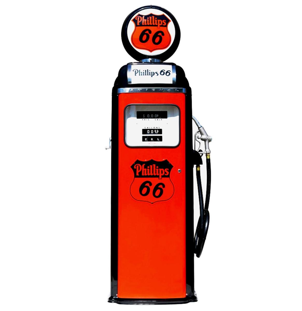 Phillips 66 National 360 Computer Face Benzinepomp - Oranje & Zwart - Reproductie