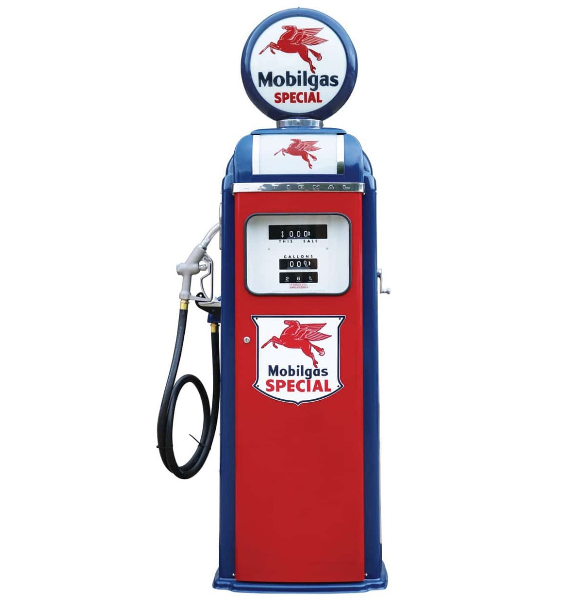 Mobilgas Special National 360 Computer Face Benzinepomp - Rood & Blauw - Reproductie