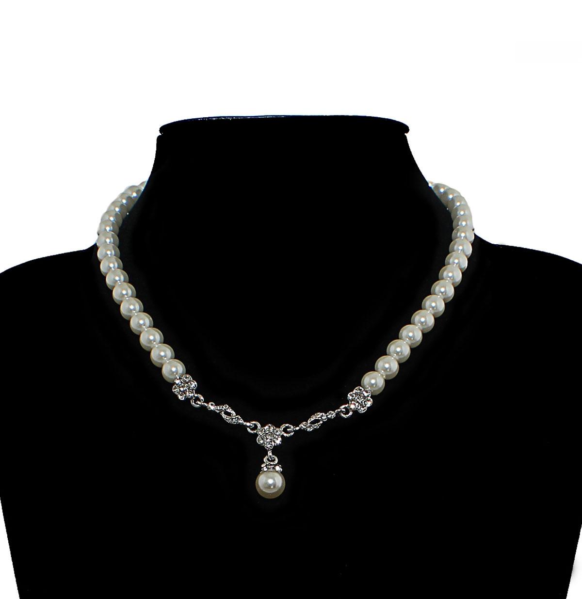 Pearl Necklace 40's Diamante