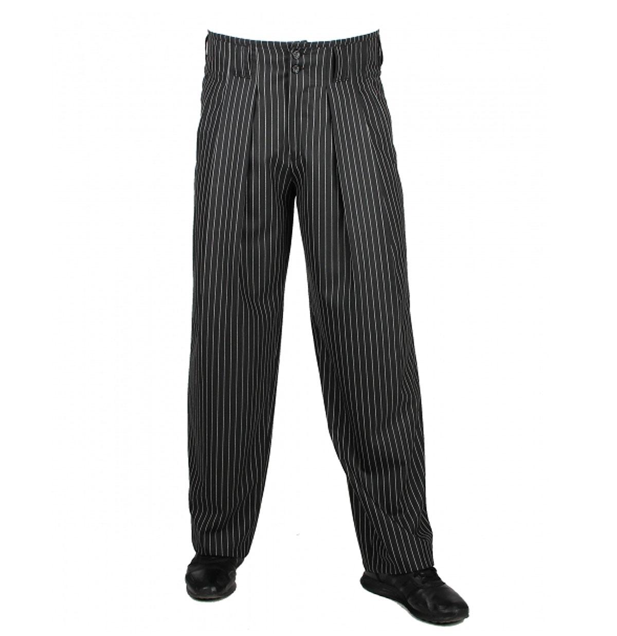 40's Boogie Swing Pants Gestreept Zwart / Wit