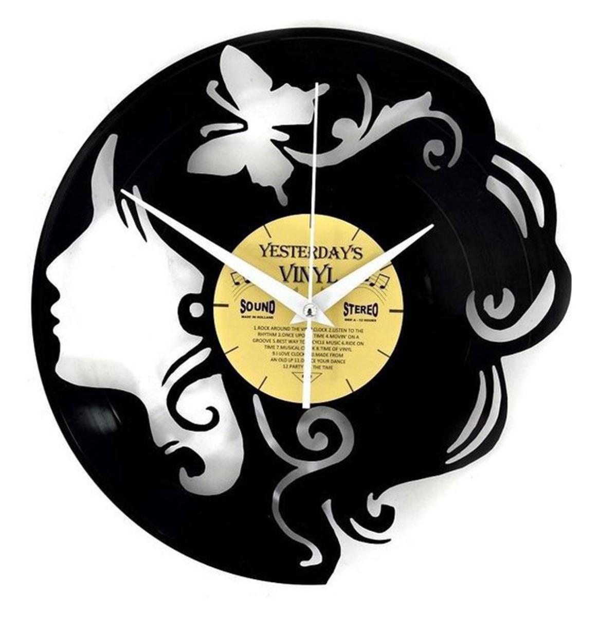 Vinyl Klok Meisje Met Vlinder - Gemaakt Van Een Gerecyclede Plaat