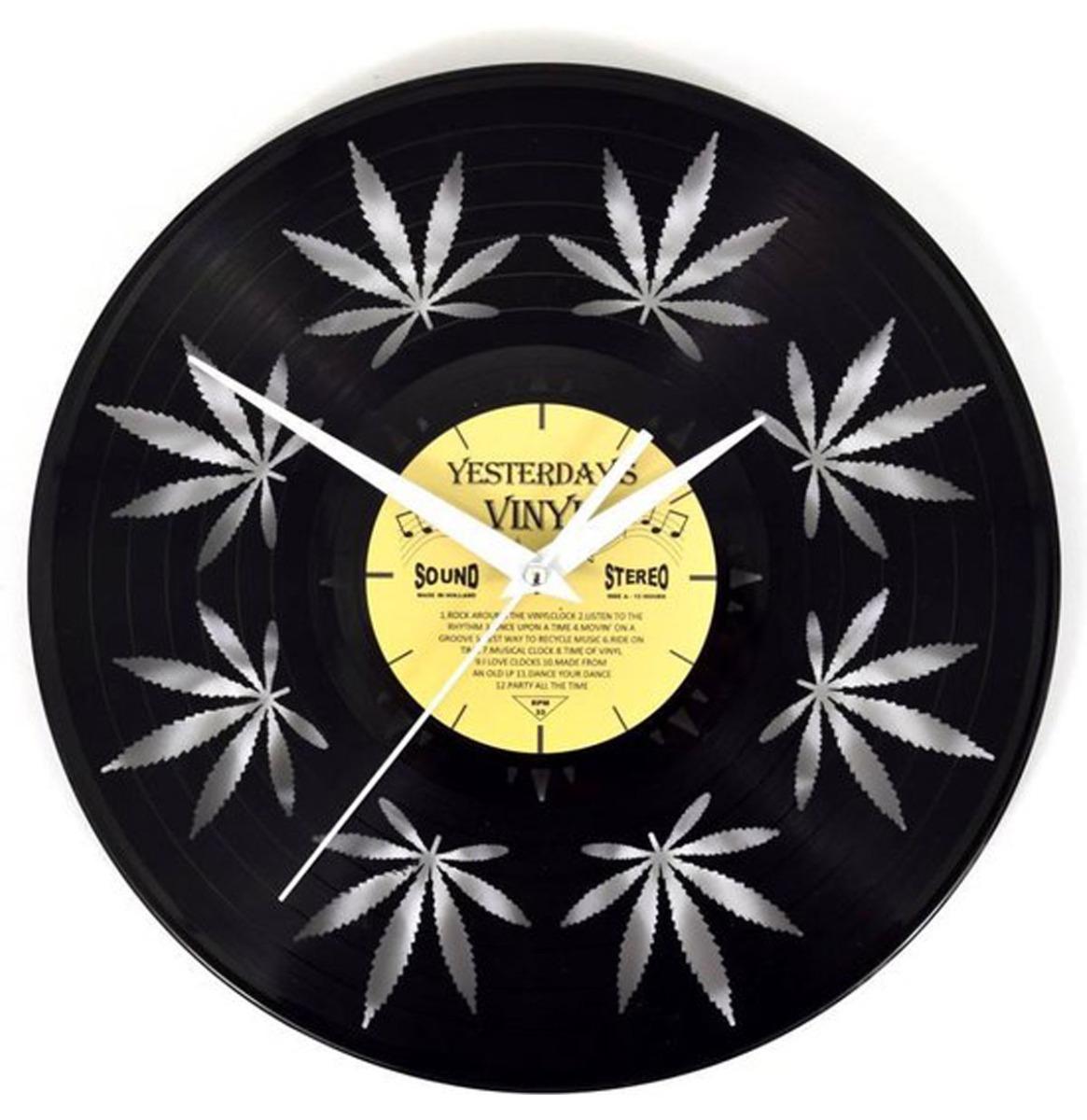 Vinyl Klok Wietblad Klein - Gemaakt Van Een Gerecyclede Plaat