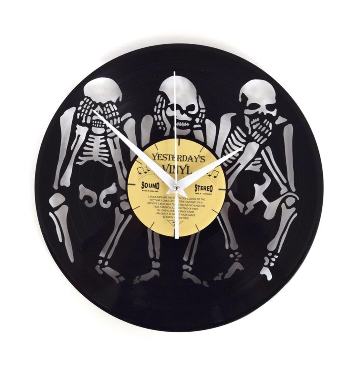 Fiftiesstore Vinyl Klok Horen, Zien, Zwijgen - Gemaakt Van Een Gerecyclede Plaat