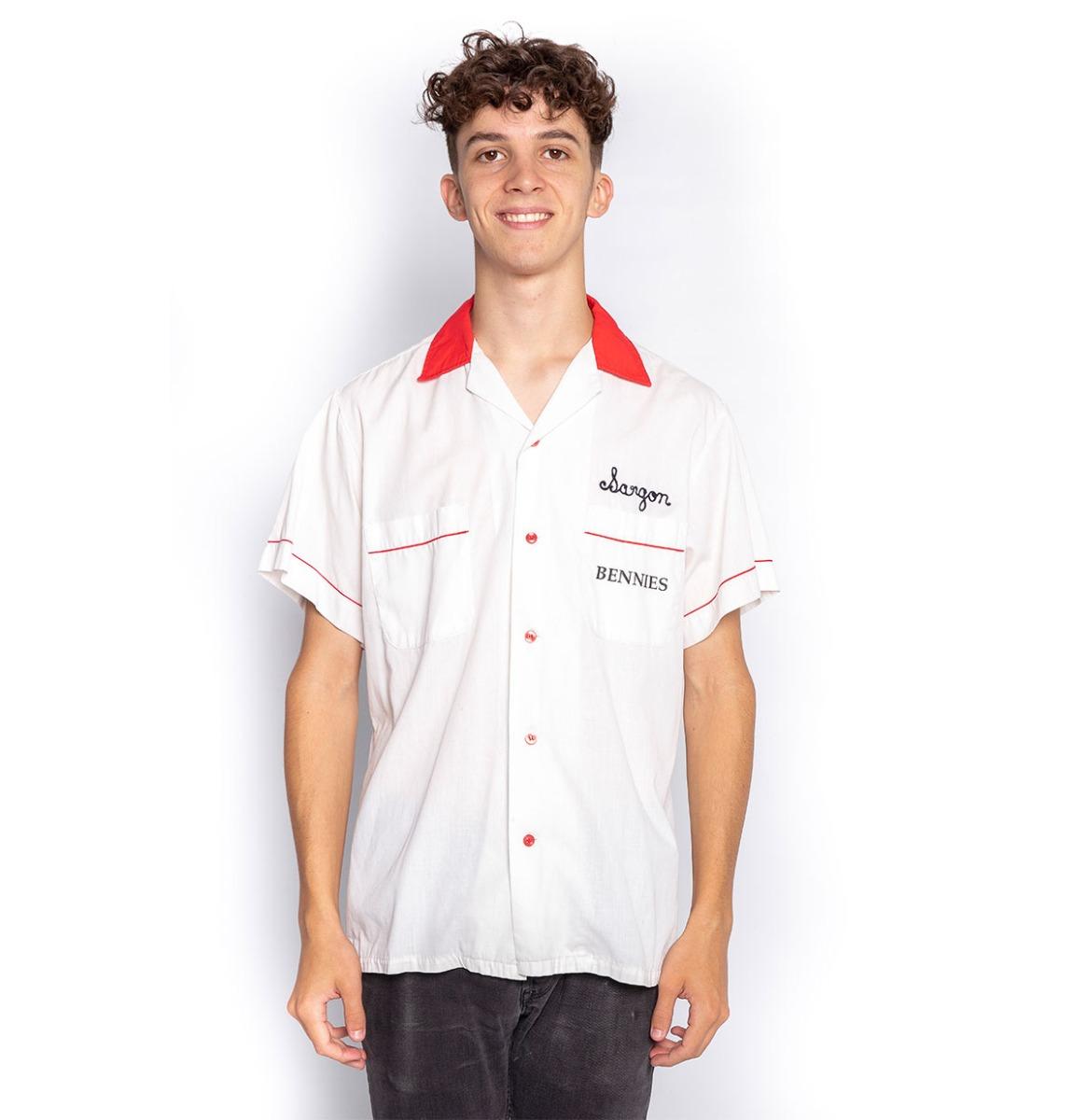 Used Bowling Shirt Bennies Fifties White - Sargon - Medium