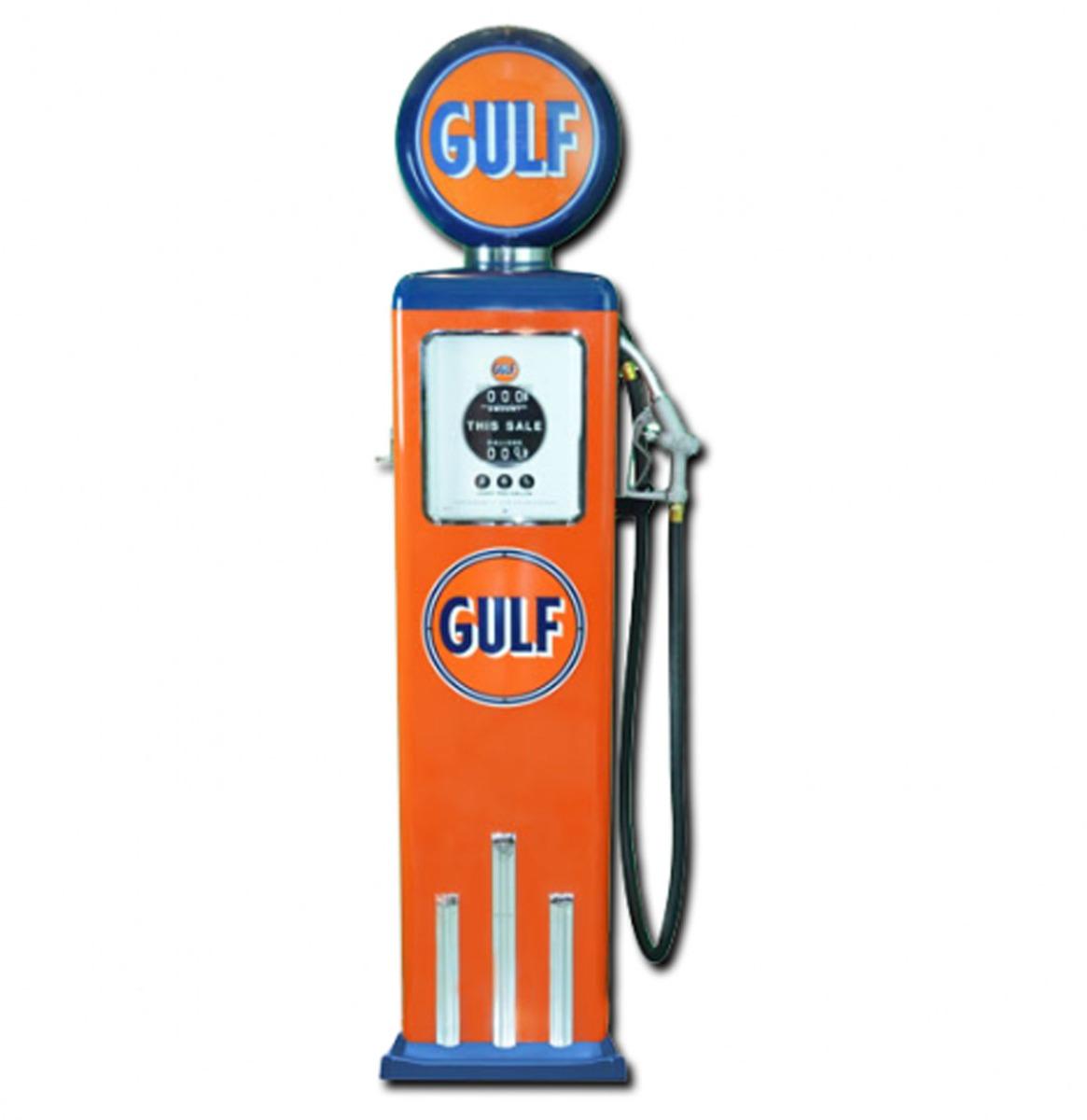 Gulf 8 Ball Elektrische Benzinepomp Met Voet - Oranje & Blauw - Reproductie