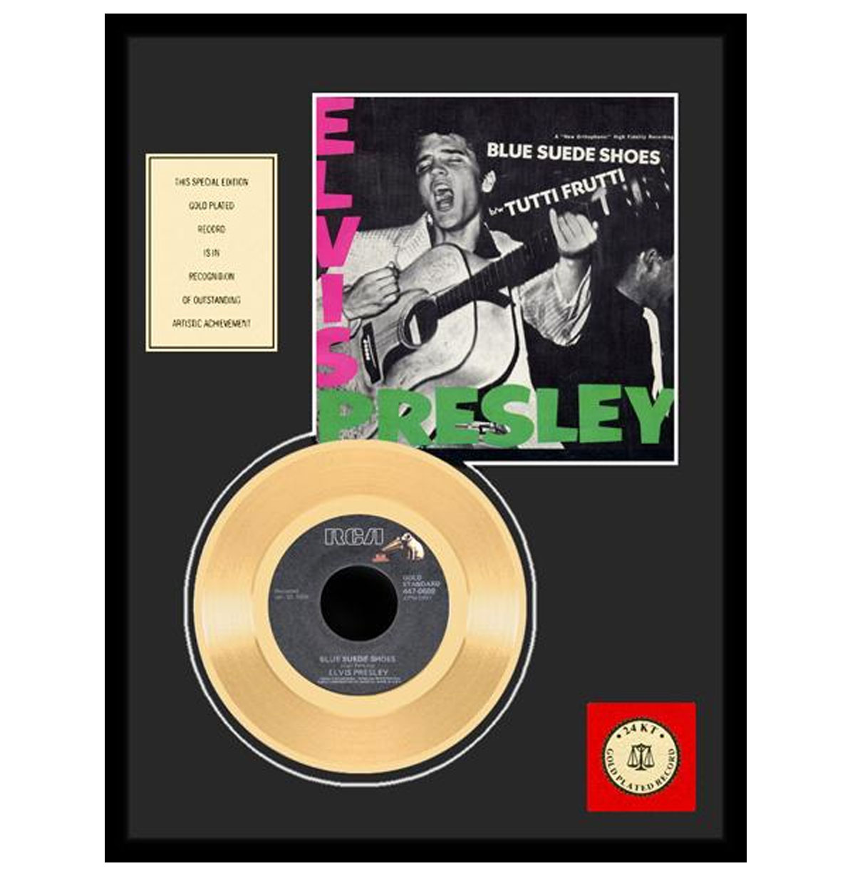 Elvis Presley - Blue Suede Shoes Gouden Plaat (45RPM)