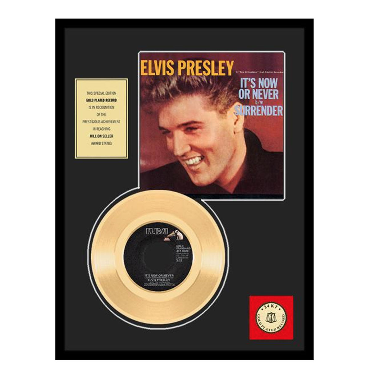 Elvis Presley It's Now or Never Gouden Plaat