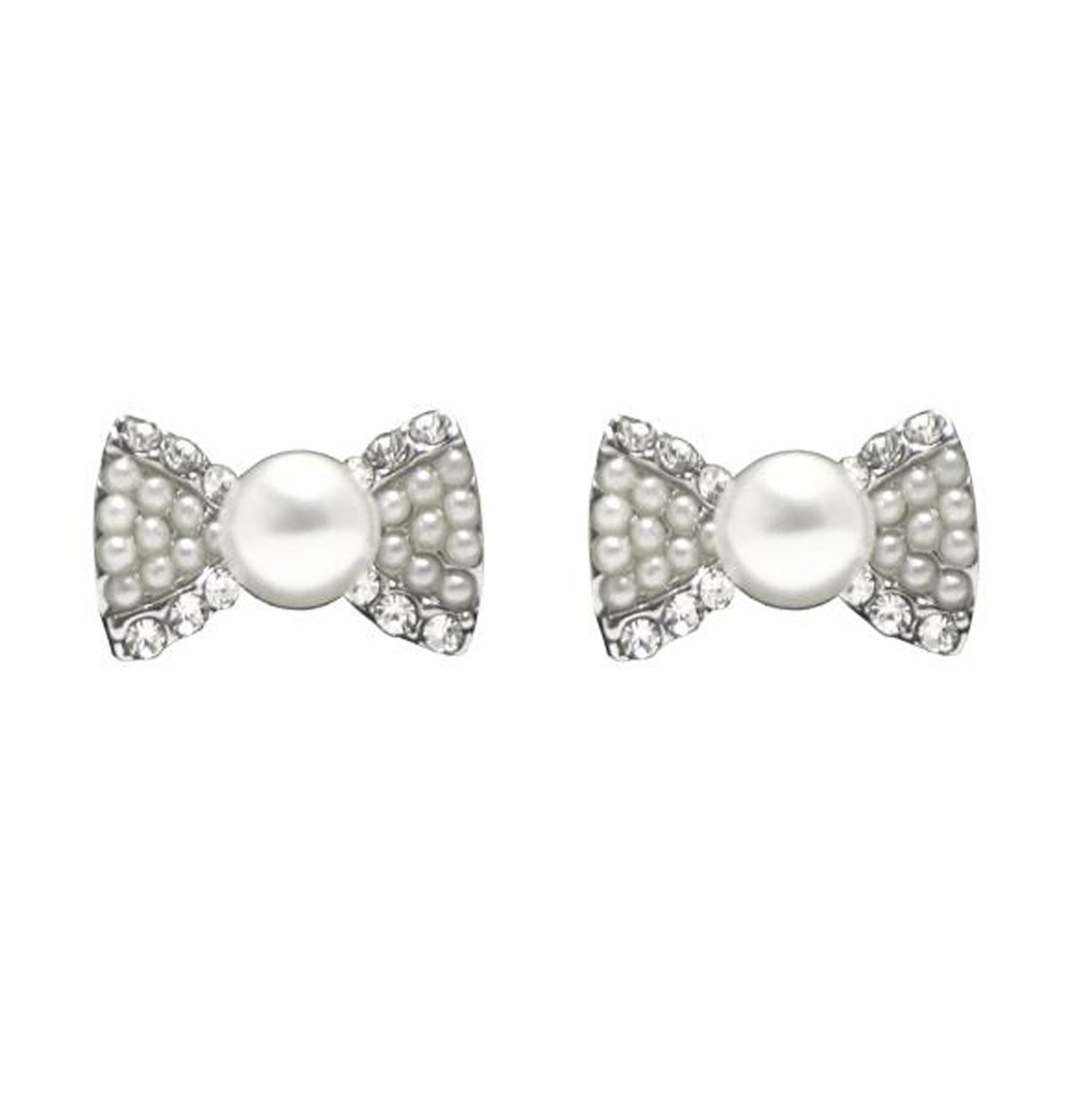 Adorable Pearl Bow Studs