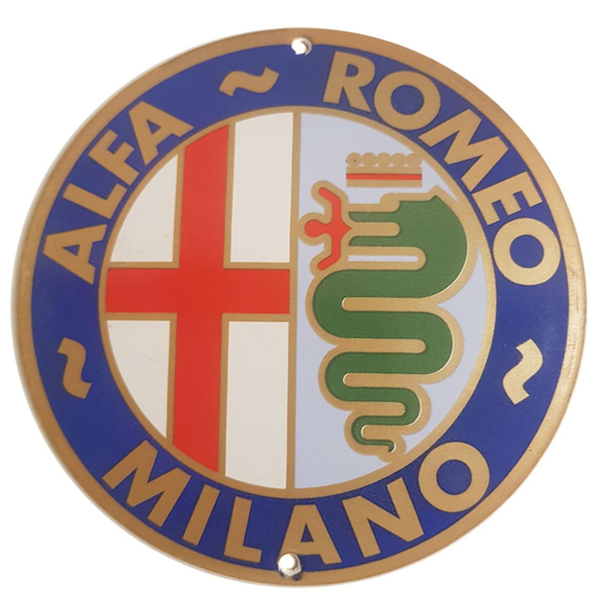 Alfa Romeo Milano Logo Emaille Bord - 13 cm ø