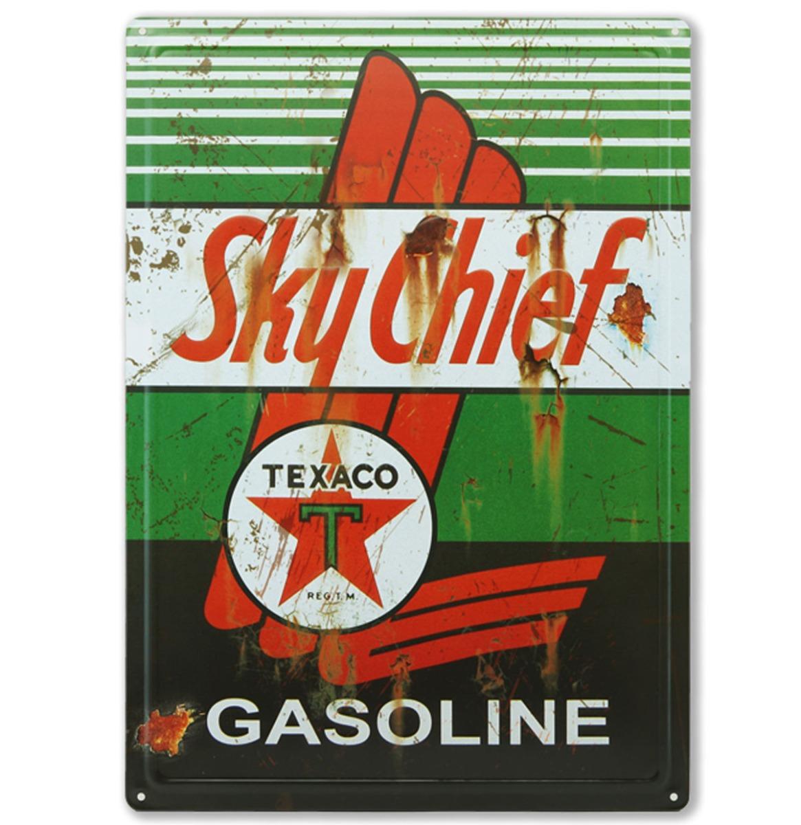 Texaco Sky Chief Gasoline Metalen Bord Met Reliëf - 43 x 31 cm