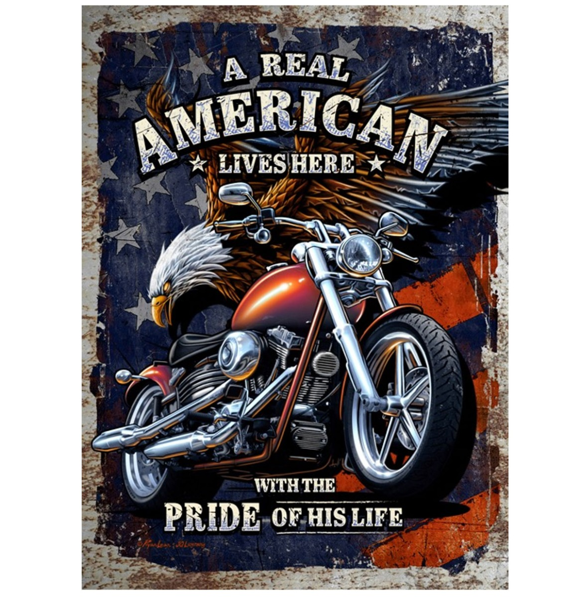 Motorcycle A Real American Lives Here Metalen Bord Met Reliëf - 43 x 31 cm