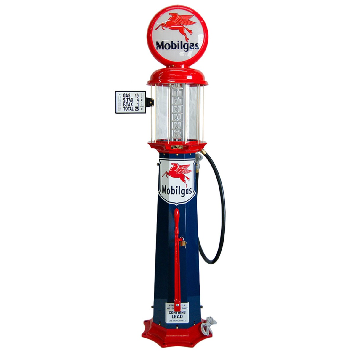 American Mobilgas 6 Gallon Benzinepomp - Rood & Blauw - Reproductie