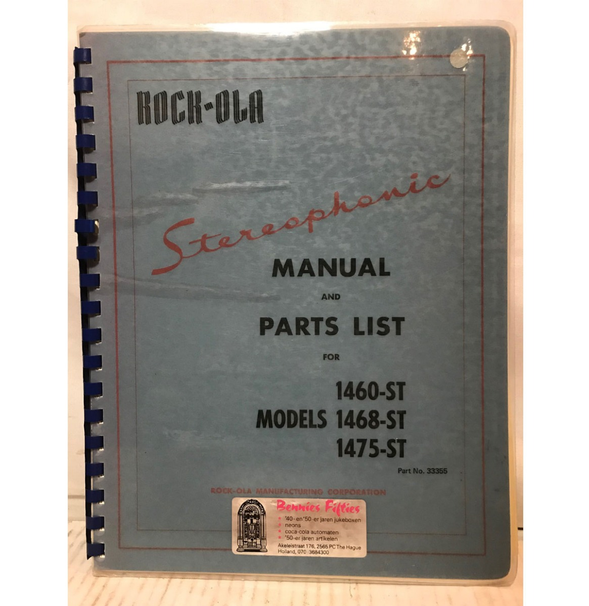 Rock-Ola 1460, 1468, 1475 Stereophonic Jukebox Models Manual - Pre-Owned