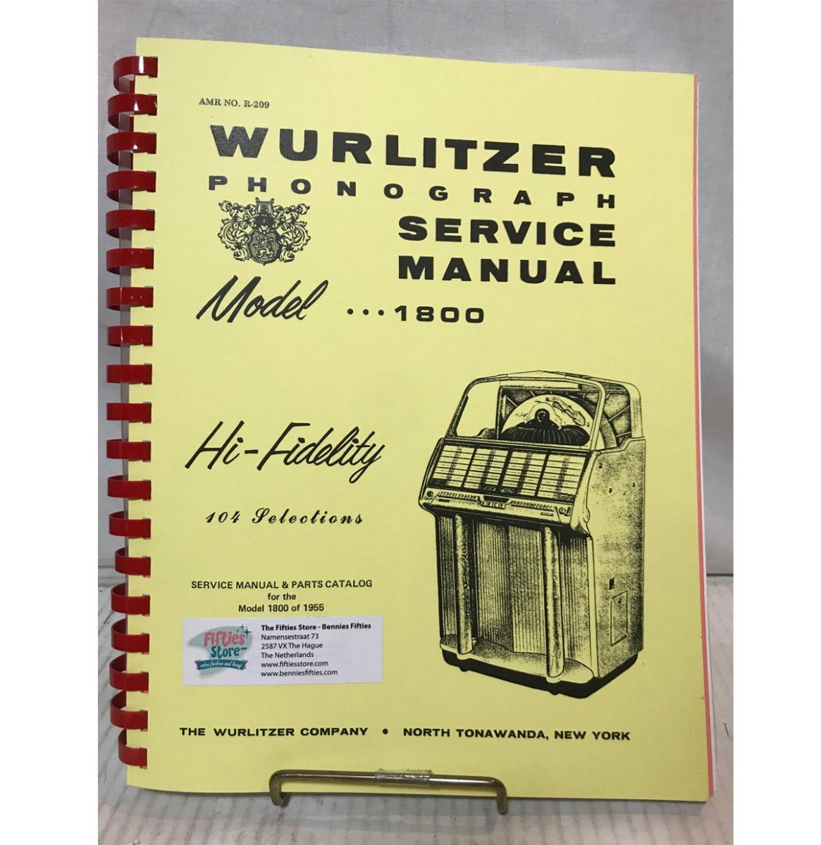 Wurlitzer 1800 Jukebox Service Manual