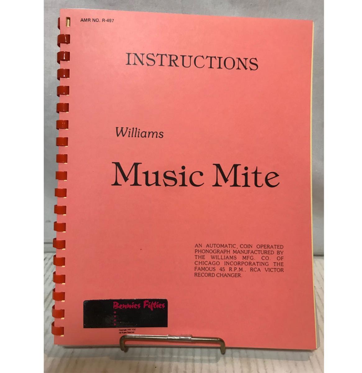 Williams Music Mite Instruction Service Manual