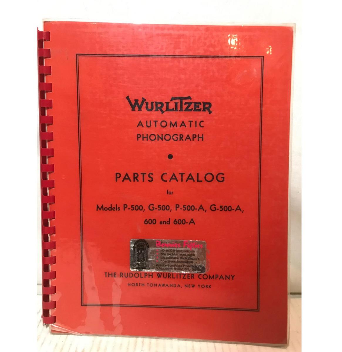 Wurlitzer 500/600 Jukebox Models Parts Catalog