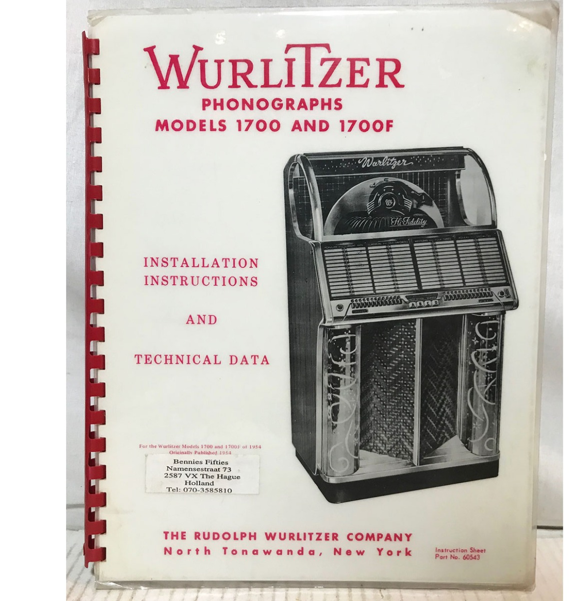 Installation, Instructions & Technical Data - Wurlitzer Jukebox Model 1700 & 1700F