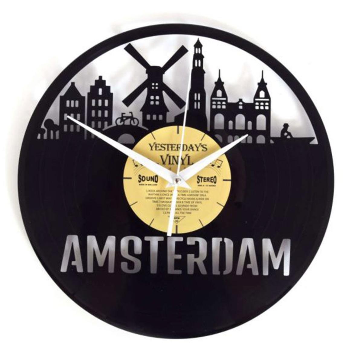 Vinyl Klok Amsterdam - Gemaakt Van Een Gerecyclede Plaat