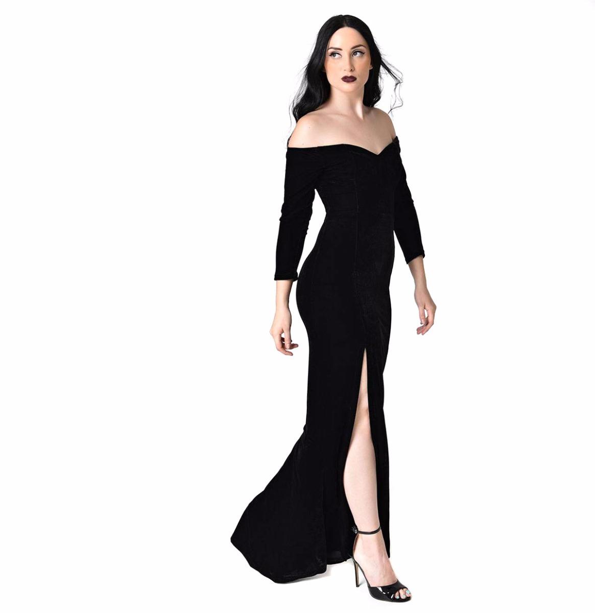 Anjelica Velvet Maxi Dress Black
