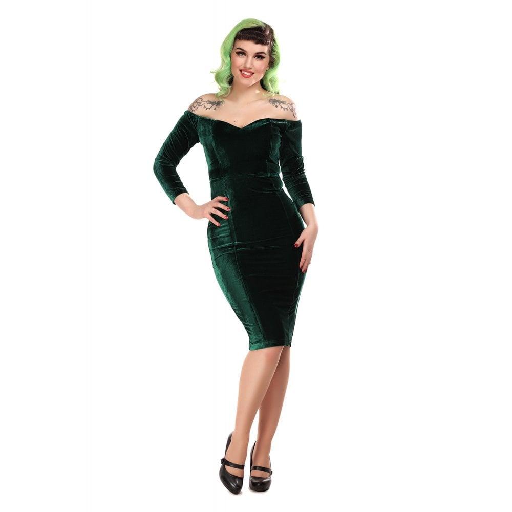 Collectif Anjelica Velvet Pencil Dress Groen