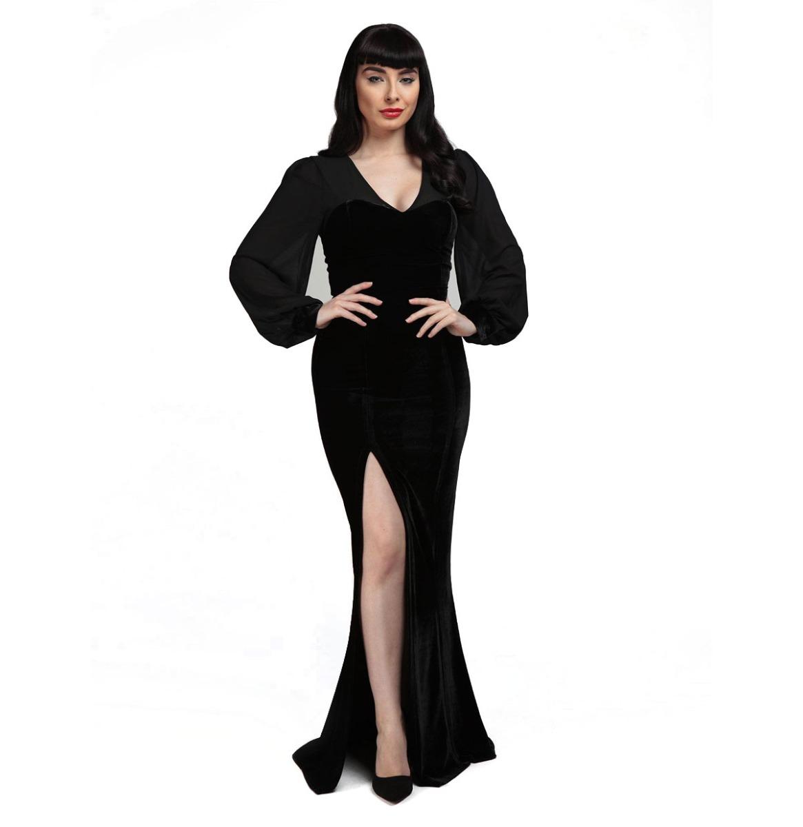 Collectif Arionna Velvet Maxi Dress Zwart