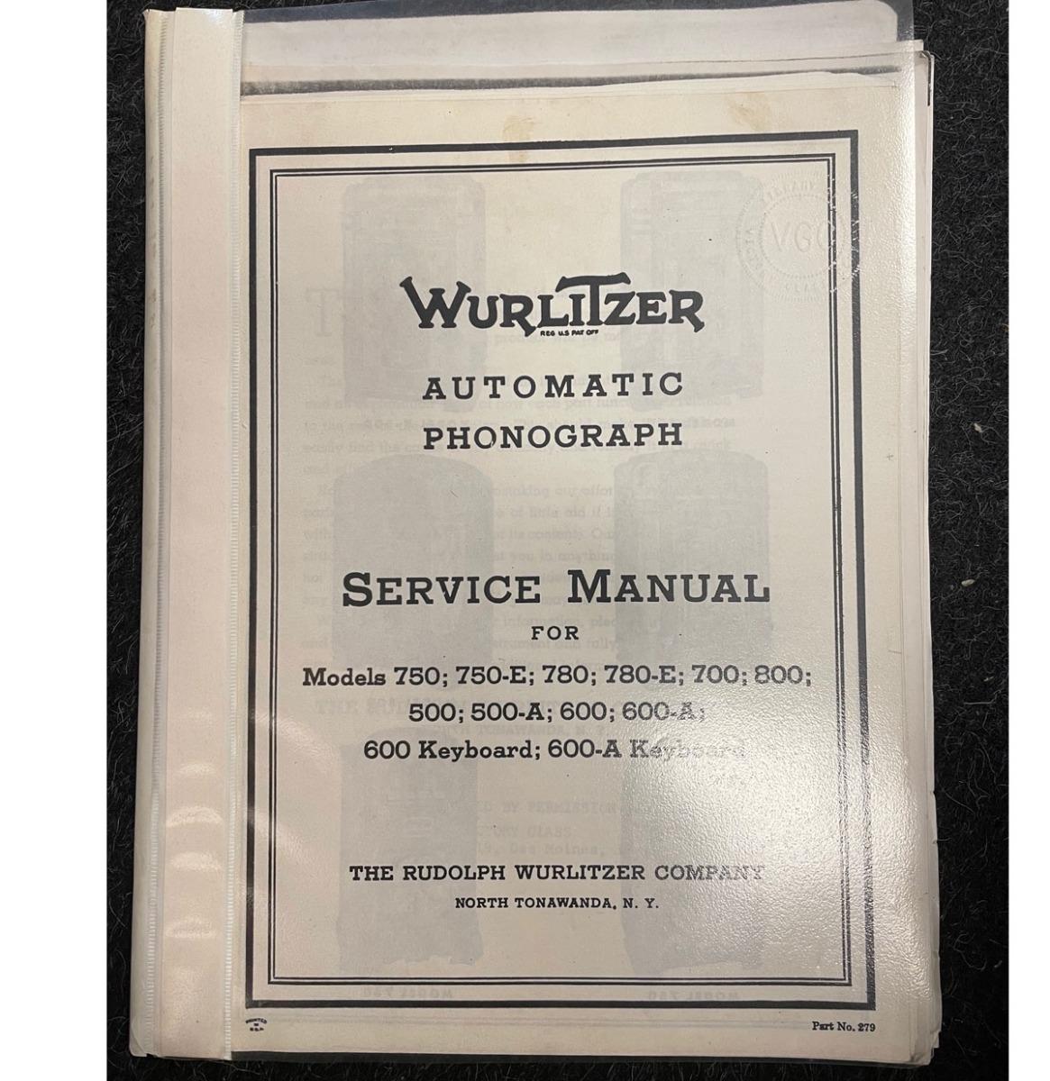 Wurlitzer 500, 600, 750 manual copy