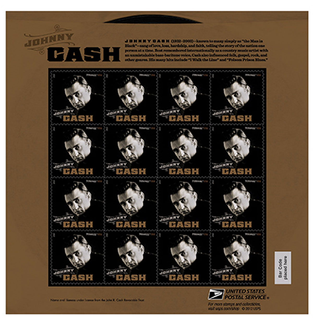 Johnny Cash Postzegelvel