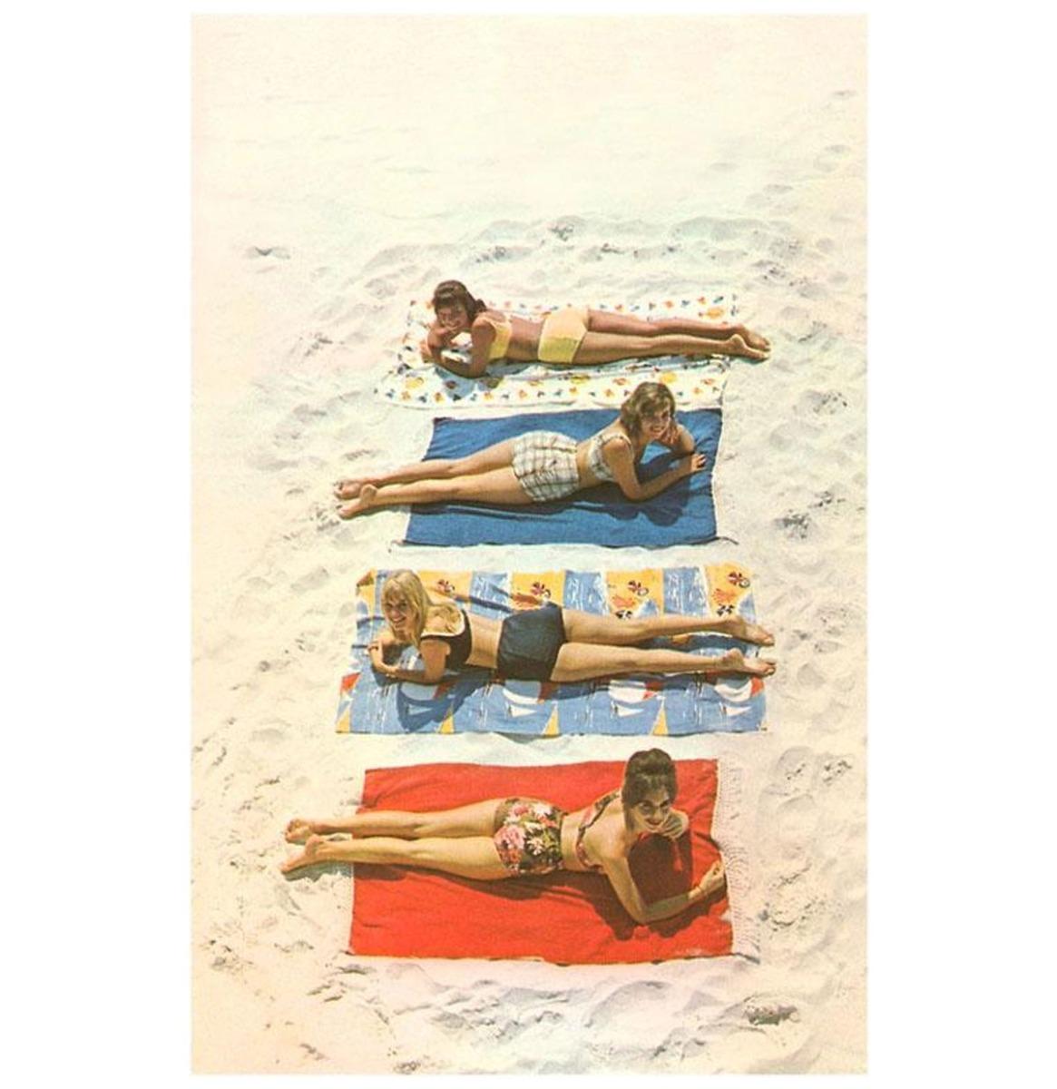 Bathing Beauties Op Handdoeken - Vintage Foto, Kunst Afdruk